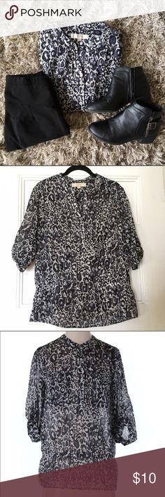 Ann Taylor LOFT Blouse Leopard Animal Print XS 3/4 sleeve. Grey, black, and blue print. Excellent condition. Poly. Elastic on waist, roll up Button sleeves. LOFT Tops Blouses