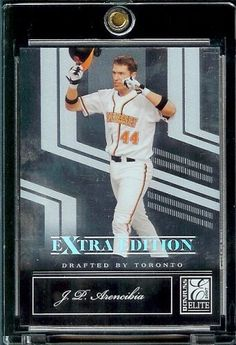 2007 Donruss Elite Extra Edition # 6 J. P. Arencibia - Toronto Blue Jays / (RC) Rookie Baseball Card / Trading Card by Donruss. $1.99. Check Back Often, New Single Cards Added Weekly. Buy More Single Cards & Save on Shipping!. Card is shipped in a protective screw down case to preserve its MINT condition!. Great Card in a Protective Display Case taken directly from pack. This is just one of the 1000s of great single sports cards we are offer on Amazon. 2007 Donruss Elite Extr...