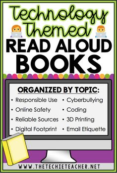 Need a read aloud book for a digital citizenship topic? This is a comprehensive list of technology themed read aloud picture books arranged by topic. These stories about digital learning are a great way to start discussions with your students about topics Computer Lessons, Technology Lessons, Computer Class, Teaching Technology, Technology Integration, Educational Technology, Computer Technology, Technology Apple, Teaching Computers