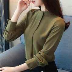 New Women Blouses Long Sleeve Chemisier Femme Blusas 2018 Spring Summer Office Lady Chiffon Shirts formal tops female clothing Ladies Shirts Formal, Formal Tops For Women, Formal Blouses, Dress Shirts For Women, Blouses For Women, Formal Shirt Women, Mode Outfits, Fashion Outfits, Look Formal
