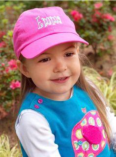 Monogrammed Hot Pink Kids Baseball Cap