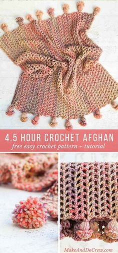 Hour Afghan – Free, Fast Crochet Blanket Pattern This is the fastest crochet afghan ever! You can make the entire blanket, including tassels in less than five hours. This free pattern and tutorial is perfect for beginning crocheters. Crochet Afghans, Afghan Crochet Patterns, Baby Blanket Crochet, Crochet Stitches, Crochet Baby, Afghan Blanket, Chunky Crochet Blankets, Chunky Crochet Blanket Pattern Free, Ripple Afghan