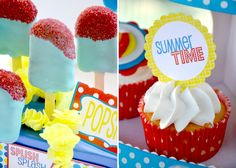 Pool party desserts - Popsicle cake pops