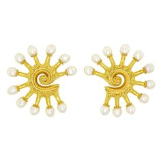 ILIAS LALAOUNIS High Karat Gold and Pearl Earrings