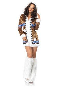 47e458b58599 Cheekyfun Sexy Fancy Dress Costume Igloo Cutie by Leg Avenue Includes  Hooded Zip-up Mini Dress Size Large - UK 12 Bust Waist Hips