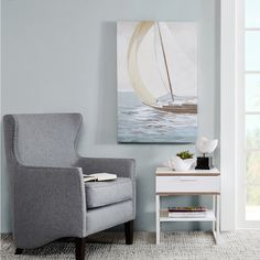 Sail Away with this beautiful and classic canvas piece. The art depicts a sail boat making its way through the crashing waves. The piece is printed on canvas and hand embellished for a hand painted look.