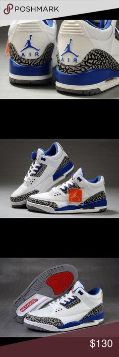 """Air Jordan 3 retro True Blues This is the Air Jordan III (3) """"True Blue"""" 2011 in the white and true blue color way. The True Blue 3's are one of the OG Air Jordan III colors and this 2011 edition was a much anticipated release. Michael Jordan wore the Air Jordan3 during the 1987-1988 NBA season and put up historic individual numbers. If you wear grade school sizes and are looking for some heat, this is the perfect pair to enhance your Air Jordan collection.  100% Authentic guarantee…"""