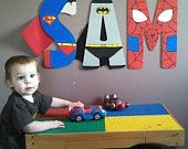 """Hand-painted 16"""" tall wood superhero letters of your choice"""