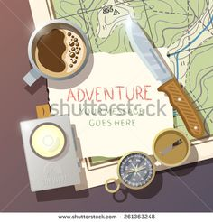 Flat vector background on the subject of wilderness survival, camping, travel, etc.. Quality design illustrations, elements and concept. Flat design. - stock vector