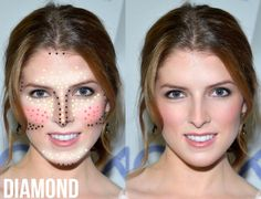 Highlight and Contour Makeup Guide for Diamond face shape
