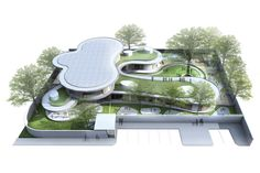Amazing Fresh School Architecture Feels Peaceful with Small Garden: Great International Kindergarten Plan Architecture In 3D View