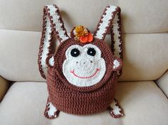 Crochet monkey backpack Gift for girl by 3FlowerGirl3Boutique