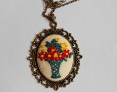 Hand Embroidered Flower Necklace Hand by ThursdayCraftLove