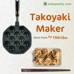 Takoyaki Maker ini bisa kamu beli dengan harga mulai dari Rp 150.000,- di https://www.tokopedia.com/hot/takoyaki-maker