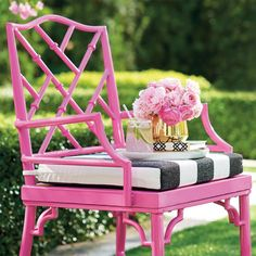 Pink side chair or armchair? Metal rattan-style seats are paired with open fretwork backs for a chic, modern-vintage look. Bamboo Furniture, Painted Furniture, Pink Outdoor Furniture, Furniture Redo, Outdoor Seating, Outdoor Chairs, Palm Beach Decor, Tropical Decor, Rattan