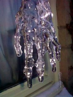 Hand-shaped icicle