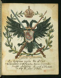 Liber amicorum of Joannes Carolus Erlenwein, Arms of Ferdinand II, Walters Manuscript -  Austria House of Hanover