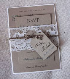 Lace Wedding Invitation Rustic Wedding by RusticDesignsByEva