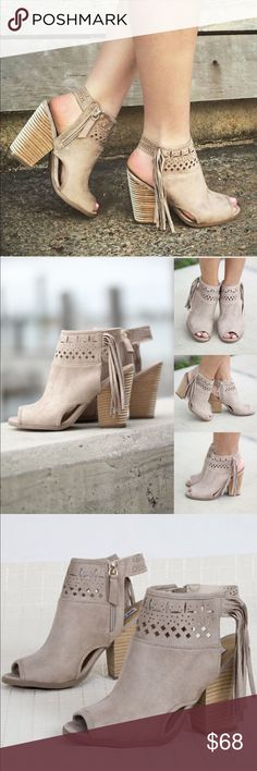 """Suede Fringe Peep Toe Ankle Booties I am loving these Cream Open Toe Fringe Booties so much!! They are simply adorable - the perfect booties for any occasion! The cream color and fringe go with ANYTHING! Pair these adorable booties with a pair of distressed jeans.  Fits True to Size Heel: 4"""". Color: Cream Small Inner Zipper  Open Back Open Toe  Faux Suede Wooden Heel Fringe Detail Cut Out Detail Boutique Shoes Ankle Boots & Booties"""