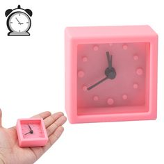[USD2.90] [EUR2.64] [GBP2.05] Mini Square Silicon Rubber Desktop Bedroom Alarm Clock (Pink)