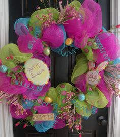 I LOVE this!! So cute.  Wonder if I can make it?? Happy Easter Wreath Springtime Bunny Deco Mesh. $125.00, via Etsy.