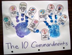 "The 10 Commandments craft project...it might be cute just to stamp the handprints lightly on top of 2 ""stone tablets"" pic with 10 Commandments written out on them."