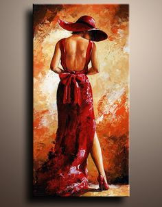 Canvas Print of Red Lady Acrylic Painting