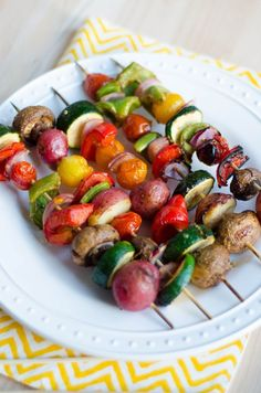 Grilled Veggie Kabobs- 1)make marinade 2)pour over cut veggies in a bowl 3)mix 4)marinate ~30 mins 5)put on skewers 6)grill