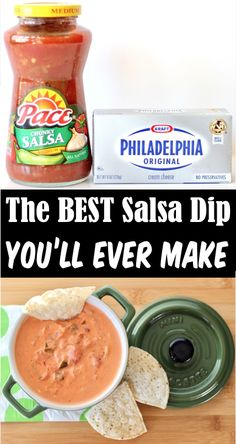 Crockpot Dips and Easy Appetizers - Creamy Salsa Dip Recipe! Send your tastebuds into an ecstatic flavor overload when you start dunking your chips into this dreamy, creamy dip! Plus, with just 2 ingredients... it's one of the EASIEST things you'll ever make. Go grab the recipe and give it a try! Christmas Appetizers, Appetizer Dips, Yummy Appetizers, Appetizer Recipes, Mexican Dishes, Dip Recipes, Mexican Food Recipes, Delicious Crockpot Recipes, Slow Cooker Recipes