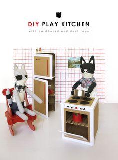 DIY Cardboard Play Kitchen | with Walnut Animal Society friends