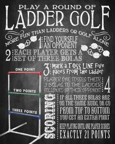 Portable diy wooden ladder golf diy projects that rock yard games ladder golf yard game sign bbq yard games solutioingenieria Image collections