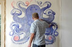Inspired in part by his graphic-designer friends disparaging comments about the lowly ballpoint pen, artist Ray Cicin took it upon himself to collect all their discarded pens and embarked on this drawing of a mammoth octopus. The piece is inspired by German naturalist Ernst Haeckel's famous i
