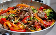 Beef and Pepper Stir fry with broccoli Fierce Foodie. I am making out my grocery list right now!