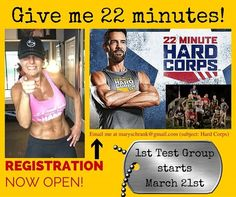 YOU ARE OFFICIALLY INVITED! all fitness levels welcome -22 minutes -6 days a week -8 weeks -30 meals included -nutrition plan -private coaching -encouragement from friends -modifications provided -meal planning help -daily accountability -and the ultimate...RESULTS! Shoot peeps...the commercials for your favorite show are more than 22 minutes! DVR your show pop your workout in and let's change your life! Registration is now open...simply email me at maryschrank@gmail.com (subject: Hard…