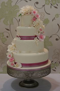 Rose Cascade Wedding Cake by Cakes by Occasion, via Flickr