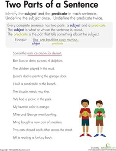 Worksheets: Subject and Predicate: Two Parts of a Sentence