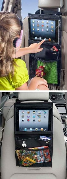 Protect the iPad from sticky fingers with this carseat iPad holder.