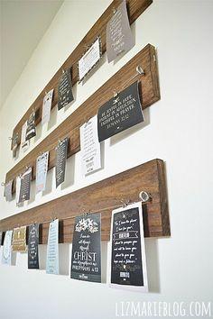 DIY Wood & Wire art display - lizmarieblog.com..I like this idea!