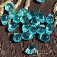 Clear-Turquoise-Czech-Glass-Teardrop-Beads-Drop-Small-6mm-x-4mm-50pcs. $1.86