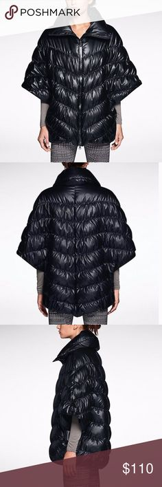 Nike Black Puffer Poncho This is like the world's most fashionable sleeping bag. It's so cozy! Nike Cascade Women's Poncho in black. The160 Nike Cascade Women's 160 Poncho is made with water repellent fabric and lightweight down fill to block out the elements and lock in heat. Funnel neck zips up to the chin. Side zip pockets. 100% polyester. Machine wash. Fits loose. First 4 pics are stock. Worn once. No signs of wear. EUC.  No trades. If I want something in your closet, I'll buy it…
