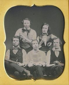 These guys are printers, each with his special tool. The cigars are pure swagger. There is a whole genre of daguerreotypes devoted to swagger. (Don't let it get out, but guys haven't changed in 300,000 yrs. Never will!