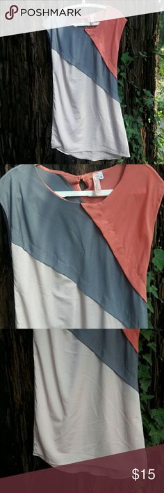 Colorblock Sleeveless dress/tunic Lightweight fabric, hand wash only. Can be worn as a short dress or with leggings. Coral, grey, and light blush. So cute, great for when it warms up! Barely worn, in great condition! Brand is Prevett from Francesca's Prevett Dresses Mini