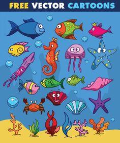 Animais de água em desenhos animados Vetor grátis