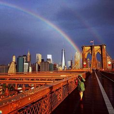 There was a double rainbow filling the sky in New York City on the anniversary of 9/11