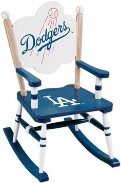 MLB Team Logo Rocking Chair Painted chair for a boy who loves sports, favorite teams, etc Let's Go Dodgers, Dodgers Nation, Dodgers Girl, Dodgers Baseball, Dodgers Party, Mlb Team Logos, Mlb Teams, Sports Teams, Los Angeles Dodgers Logo