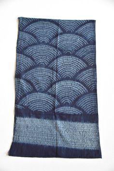 Indigo Subdued Blue Shibori Cotton Scarf Tie Dye Handmade