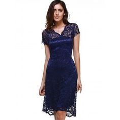 SHARE & Get it FREE | Sweet V-Neck Short Sleeve Women's Lace DressFor Fashion Lovers only:80,000+ Items·FREE SHIPPING Join Dresslily: Get YOUR $50 NOW!