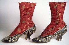 Boots Pagan Wicca Witch:  Boots, 1883. Kidskin, silk satin brocade, silk thread, brass buttons.