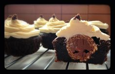 Ferrero Brownie Bites with salted Caramel Butter cream icing | Yum'e'licious