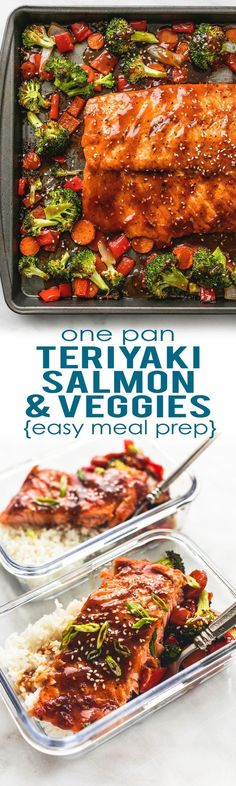 Easy and healthy ONE PAN Teriyaki Salmon & Vegetables is a tasty sheet pan dinner and perfect for simple meal prep! | http://lecremedelacrumb.com
